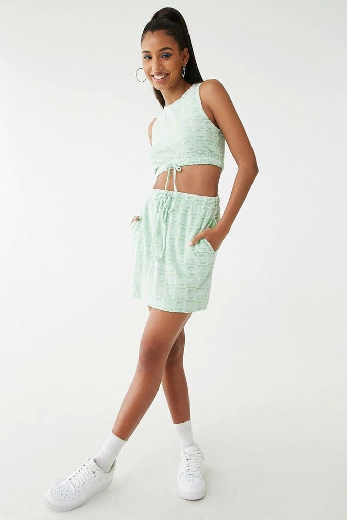 501c27568d Pepsi Checkered Print Crop Top and Mini Skirt