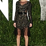 Kate Bosworth's Prabal Gurung confection is an edgy combination of luxe embellishments and sheer fabrication.