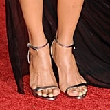 Halle Berry with super minimal silver platforms.