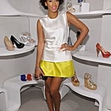 Solange channeled a sweet '60s look with a colorblock shift dress and mint-colored Stuart Weitzman cap-toe pumps in March 2012.