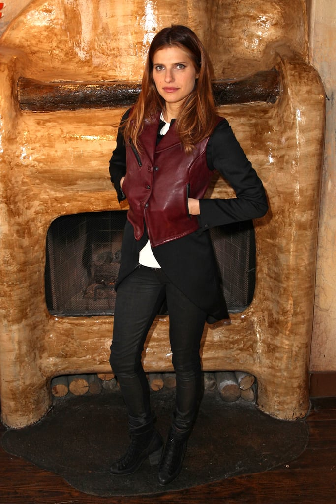 After spotting Lake Bell's latest rocker look, we can't wait to layer a luxe leather vest over our favorite riding blazer.
