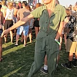 We love how this Coachella attendee danced away to Passion Pit in a chic green jumpsuit and ankle boots. Source: Chi Diem Chau