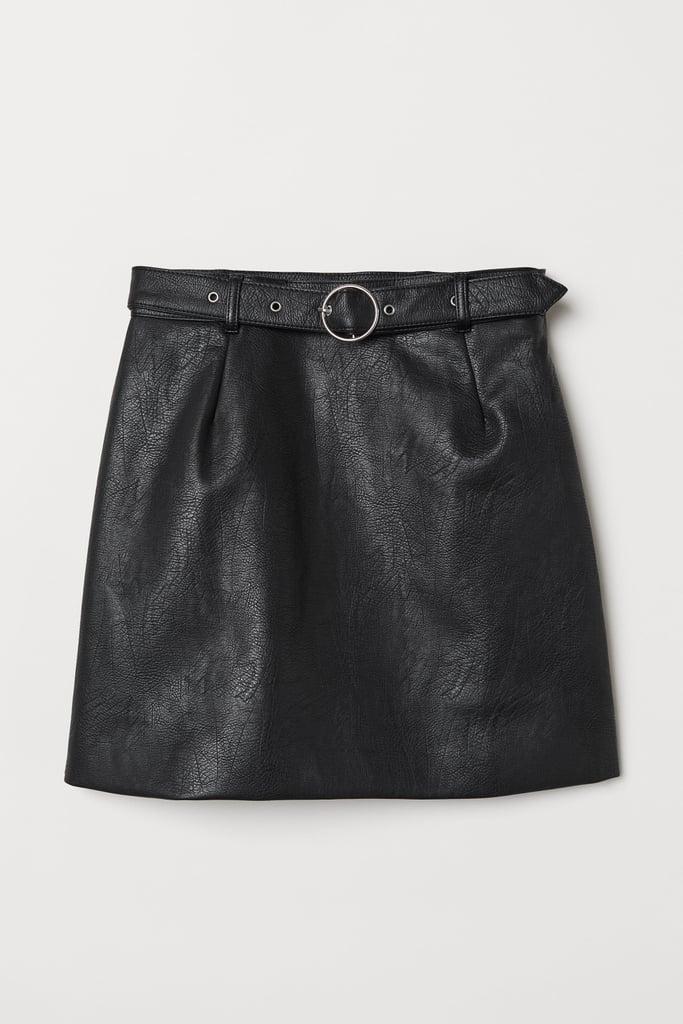 Black Belted Mini-Skirt
