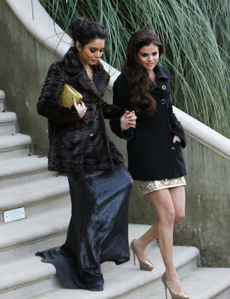 Vanessa Hudgens and Selena Gomez covered up their dresses in coats as they headed to the Beverly Hilton to party post-Globes.