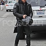 Justin Theroux out in LA riding his motorcycle.