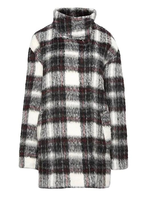 Fuzzy Plaid Cocoon Coat