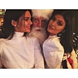 Kendall and Kylie got up close and personal with Santa.