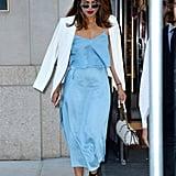 Priyanka Chopra Blue Outfit With Purple Velvet Heels
