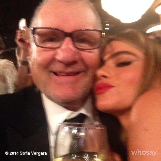 Sofia Vergara cozied up to her Modern Family TV husband, Ed O'Neill, at the Golden Globes. Source: Instagram user sofiavergara