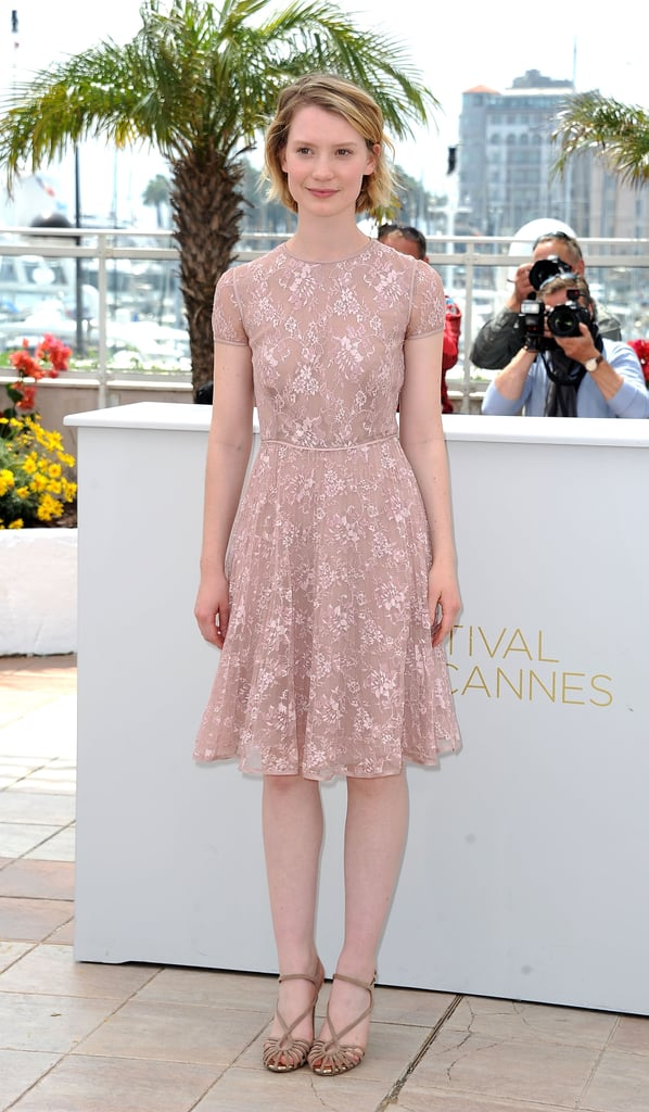 Mia selected this gorgeous pink lace Valentino dress for the premiere of Restless at Cannes.