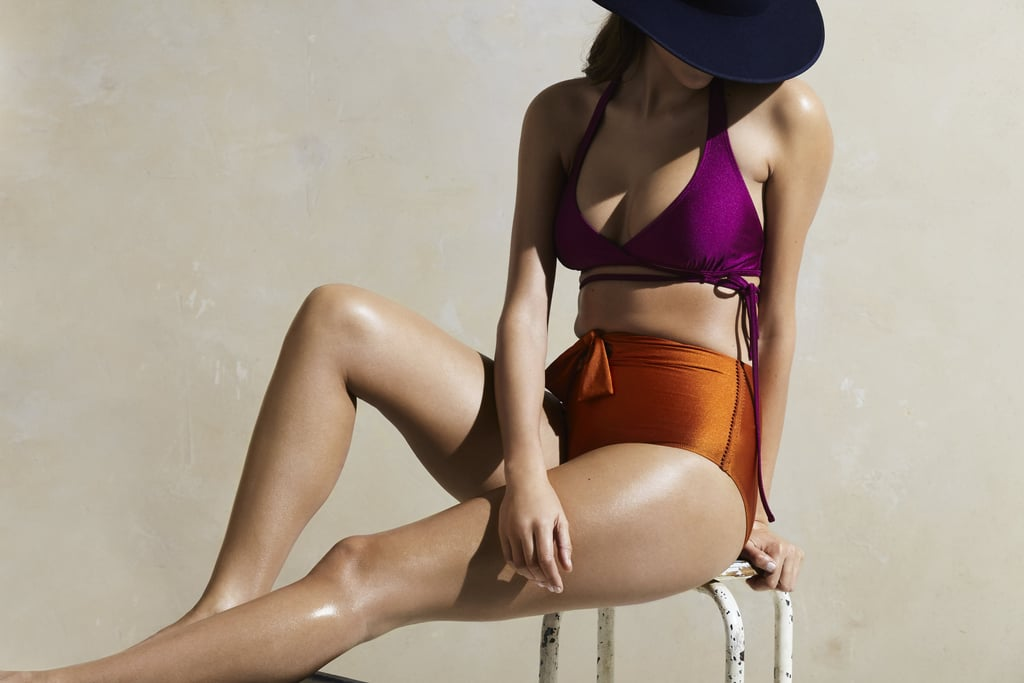 Try mixing and matching a high-waisted brief like Phylyda's Sol Swim Bikini Bottom ($111) with a different jewel-tone shade, like the magenta Rania Solid Dahlia Top ($128). Your look will be all about the interesting colors.
