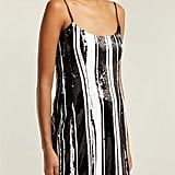 Halpern Striped Sequin Minidress