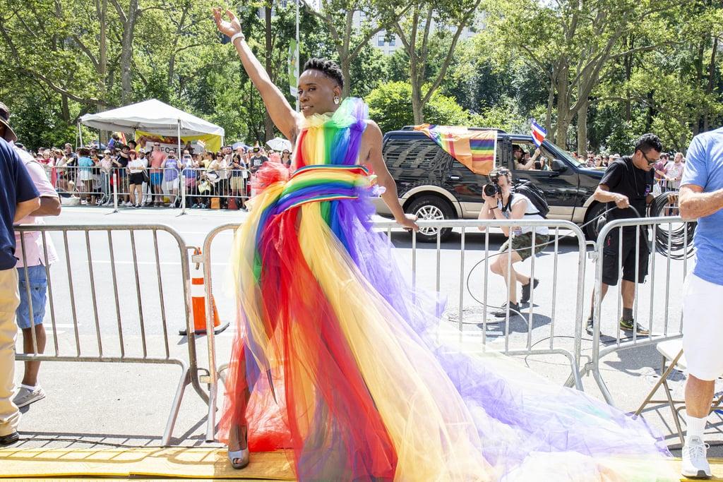 Billy Porter wearing a custom Christian Siriano rainbow gown.