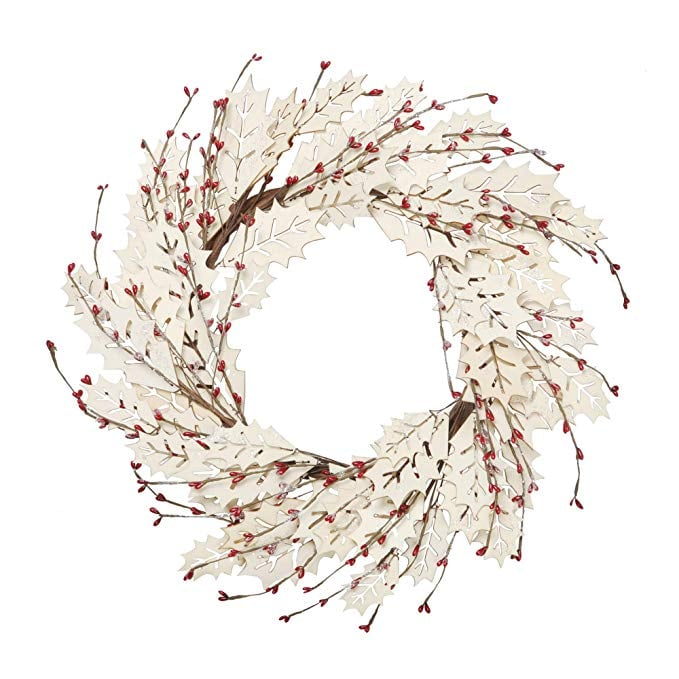 VGIA 18 Inch Christmas Wreath Winter Wreath With Wooden Leaves and Pip Berries