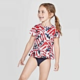 Toddler Girls' 2-Piece Americana Flutter Sleeve Rash Guard Set
