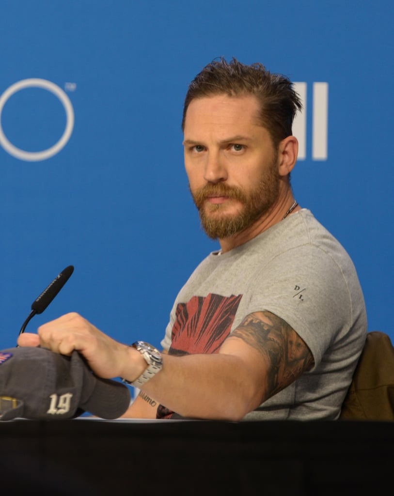 """The Legend press conference at the Toronto International Film Festival took an unexpected turn when a reporter questioned Tom Hardy about his sexuality. Midway through the event on Sunday, Graeme Coleman, a journalist from the The Daily Xtra asked Tom, """"In the film, your character, Ronnie, is very open about his sexuality. But given interviews you've done in the past, your own sexuality seems a bit more ambiguous. Do you find it hard for celebrities to talk to media about their sexuality?"""" The 37-year-old actor paused for a second and then responded by saying, """"What on earth are you on about? I don't find it difficult for celebrities to talk about their sexuality. Are you asking me about my sexuality?"""" before quickly ending the interview.  Although Tom plays a bisexual gangster in his new film, the reporter could have been referring to a previous interview Tom did with Attitude magazine in 2008 in which, when asked, """"Have you ever had sexual relations with men?"""" he said, """"As a boy? Of course I have. I'm an actor for f*ck's sake. I'm an artist. I've played with everything and everyone."""" Watch the awkward exchange below just after the 28-minute mark, and then find out why Tom isn't ashamed of his Myspace photos."""