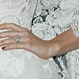 Delicate Elie Saab Couture lace and one serious engagement ring, courtesy of fiancé Justin Timberlake. That's one lucky girl.