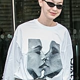 Gigi Hadid Wearing Top With Models Kissing