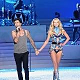 Adam Levine held hands with his girlfriend, Anne Vyalitsina.