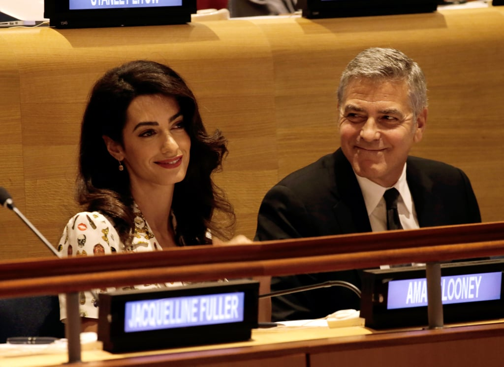 George couldn't keep his eyes off of his wife at the Leaders Summit for Refugees at the UN in September 2016.