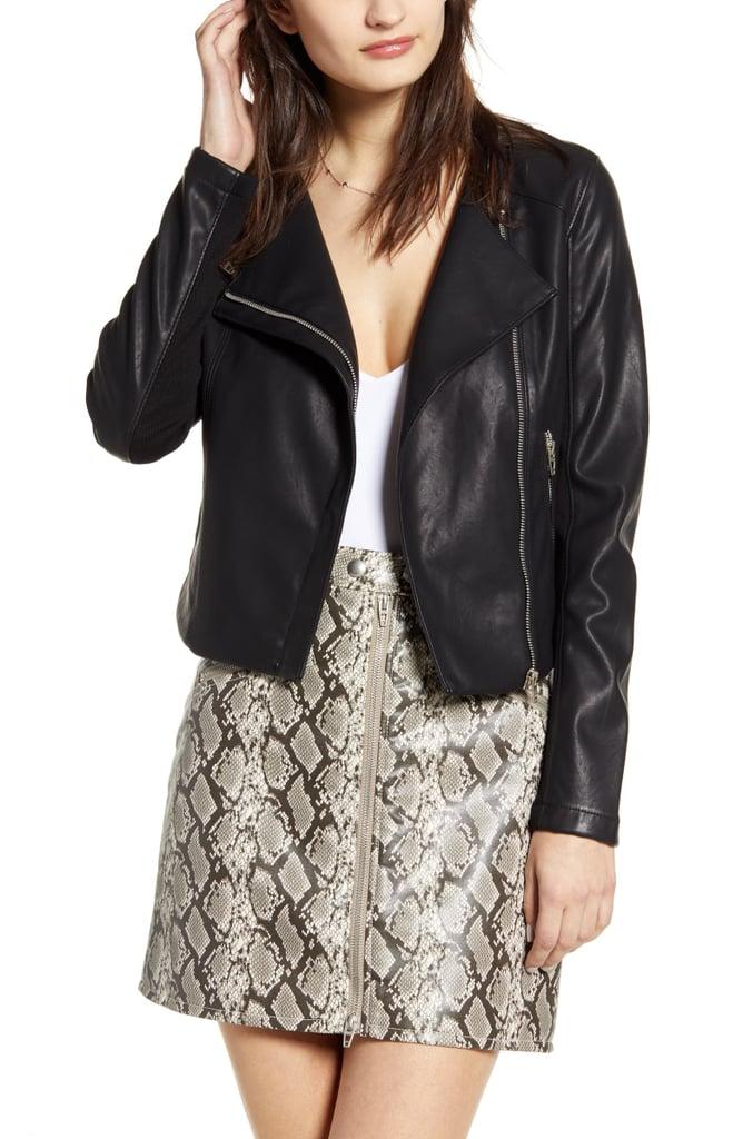 BlankNYC Record Breaker Collarless Faux Leather Moto Jacket