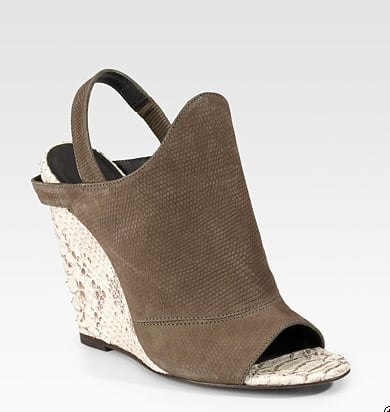Wedges are the perfect remedy for those of us who have to stomp the pavement daily. This camel and snakeskin pattern from Elizabeth and James pays ode to Spring's ongoing neutral trend.  Elizabeth and James Suede & Snake-Printed Leather Wedge Sandals ($363)