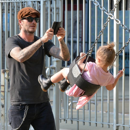 David Beckham and Harper at a Park in NYC