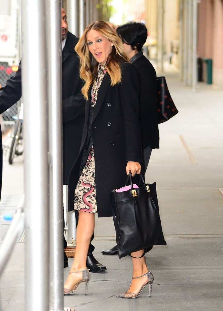 """Fresh off the Met Gala red carpet, Sarah Jessica Parker stepped out in NYC on Wednesday looking like her usual perky self. The actress, who recently faced some backlash from an Instagram user over her Met Gala outfit, did not seem to have a worry in mind as she strutted her stuff down the street.  It all started with an Instagram post that accused Sarah, along with Madonna and Diane Von Furstenberg, of not sticking to the ball's theme, Manus x Machina: Fashion in an Age of Technology. Sarah saw the post and decided to respond, explaining that she did, in fact, get the memo, writing, """"Perhaps you weren't aware of the technology used in the details and embellishments of the design. Or perhaps you simply didn't like what I wore which is completely fine but you can't accuse me of not paying close attention and adhering to the theme."""" Lesson learned: don't mess with Sarah. Read on to see more of her latest outing, and then check out 43 style lesssons we learned from her role as Carrie Bradshaw."""