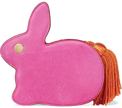 How adorable is the tassel tail on the Hillier Bartley — Bunny Calf Hair And Leather Clutch — Pink ($750)?