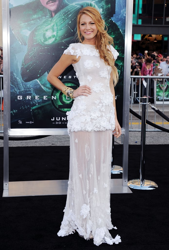 Blake Lively Wearing a Lacy Sheer Gown