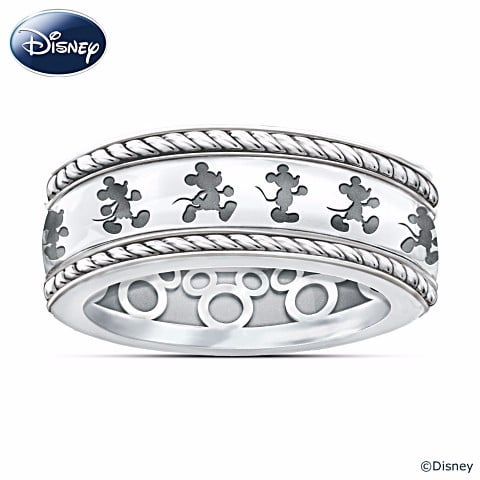 sterling silver mickey mouse ring with engraved spinning band 149 - Mickey Mouse Wedding Ring