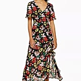 Floral V-Neck Angel Sleeve Dress