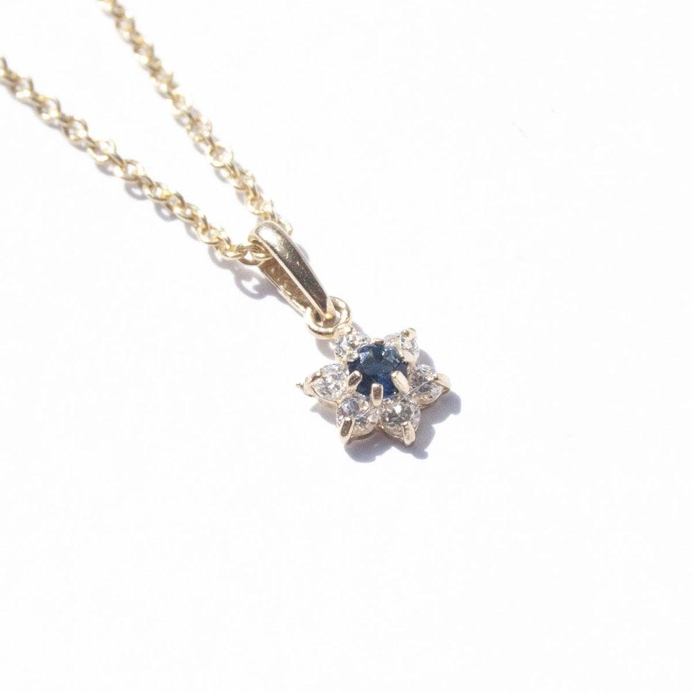 Seol + Gold Tiny Sapphire Flower Pendant