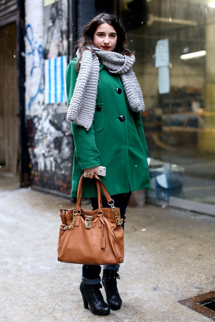 A gorgeous green coat and buttery leather satchel hit all the right classic styling notes in this ensembles.