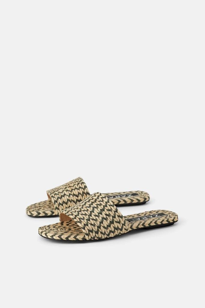 Natural Coloured Woven Flat Sandals | Best Zara Sandals