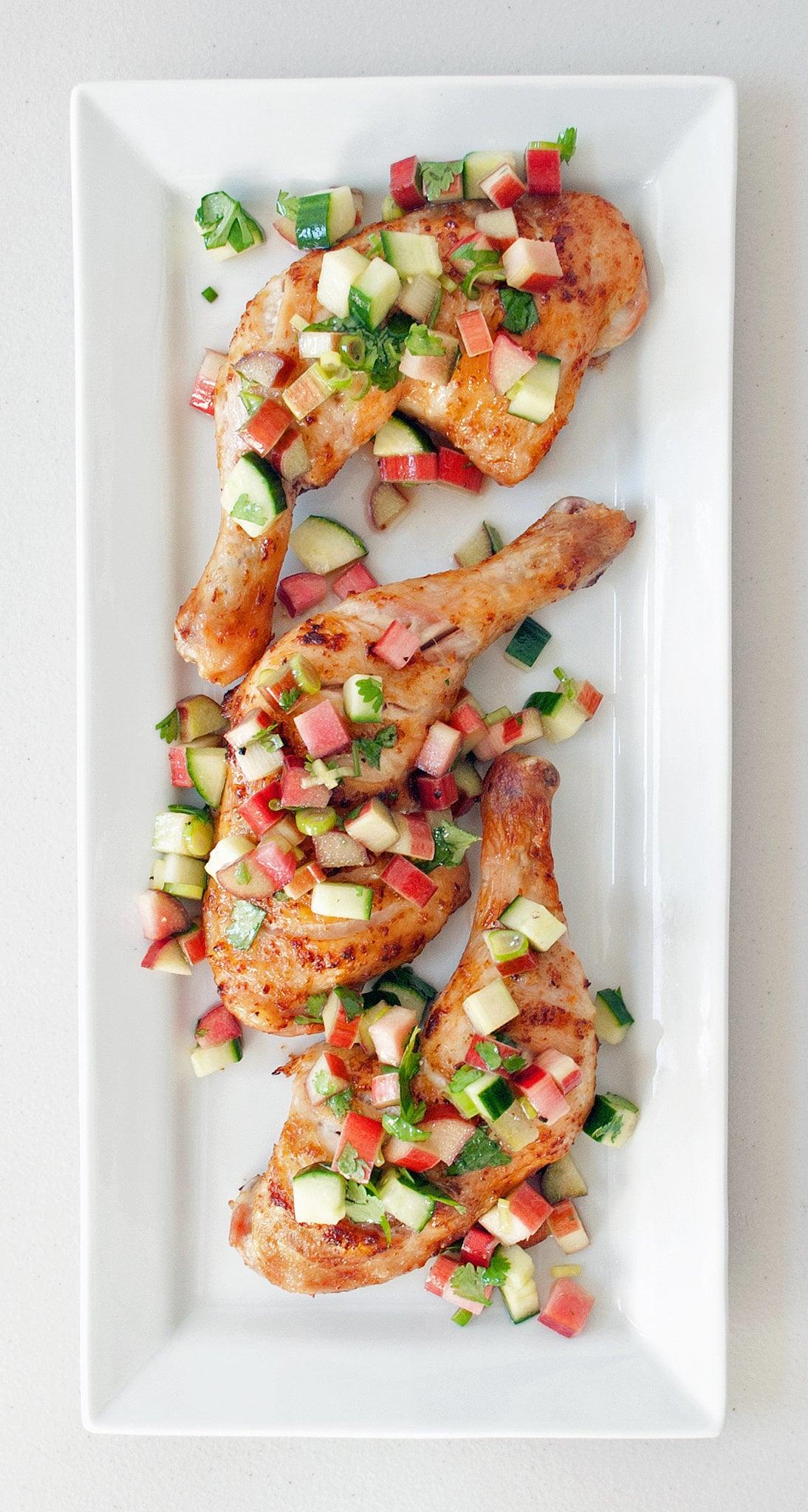 Chicken Thighs With Rhubarb-Cucumber Salsa