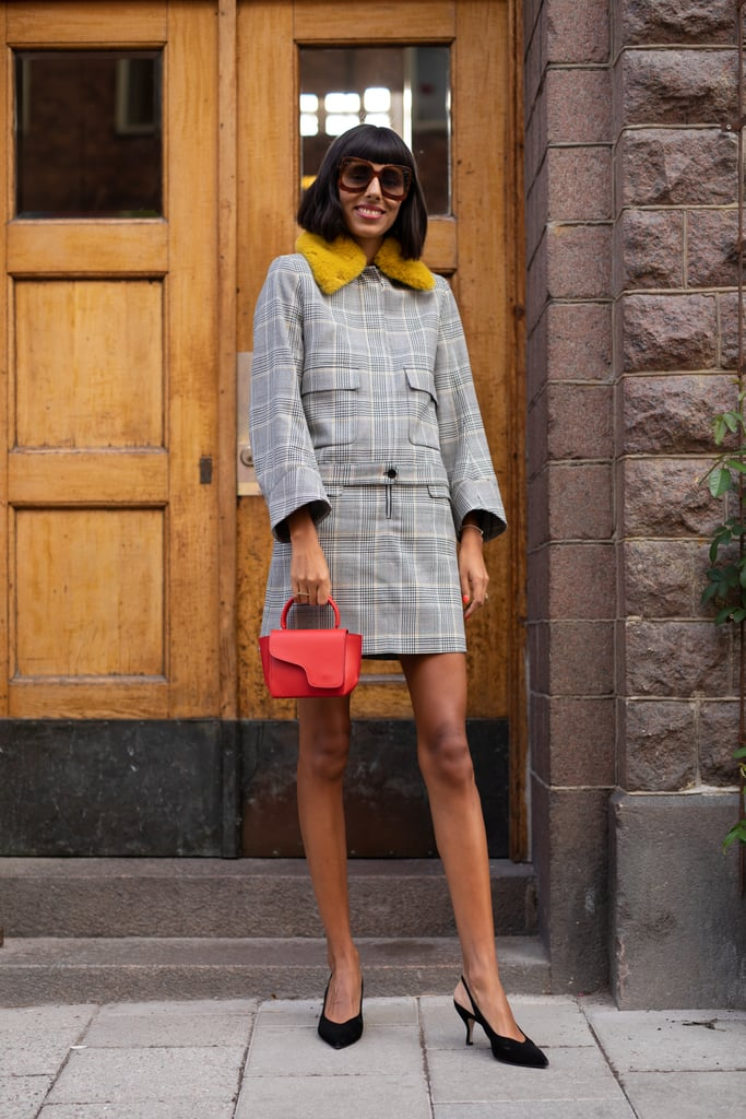 Work plaid on plaid with a coordinating set for a ladylike effect.