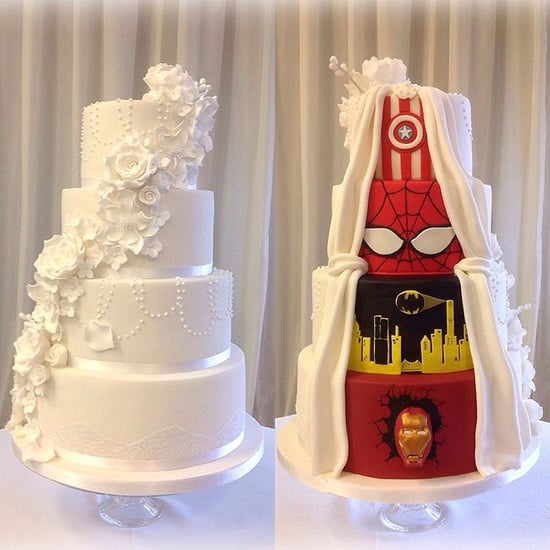 Two-Sided Marvel Wedding Cakes