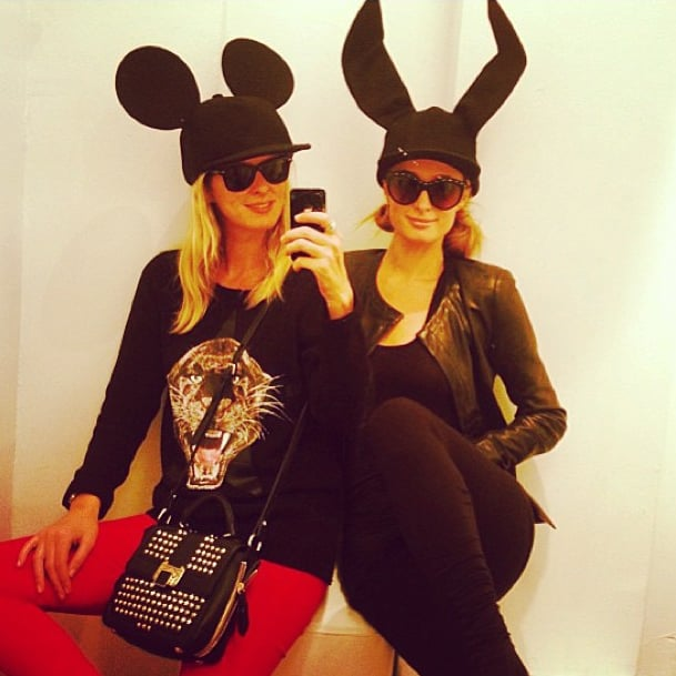 Nicky and Paris Hilton were all ears in Comme des Garcons. Source: Instagram user nickyhilton