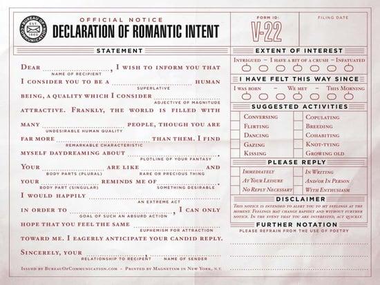 Declaration of Romantic Intent