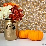 Golden Mason Jar Vase