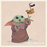 Baby Yoda Eating a Mickey Waffle