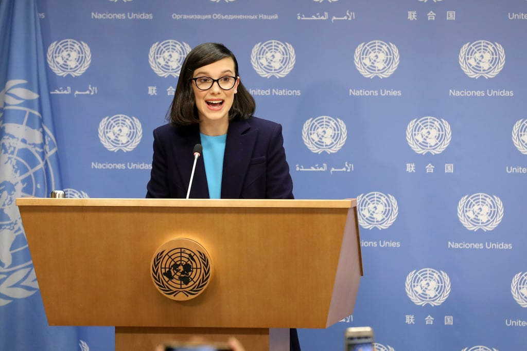 Millie Bobby Brown at the UN Summit in 2018