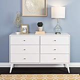 Prepac Milo Mid Century Modern 6 Drawer Double Dresser