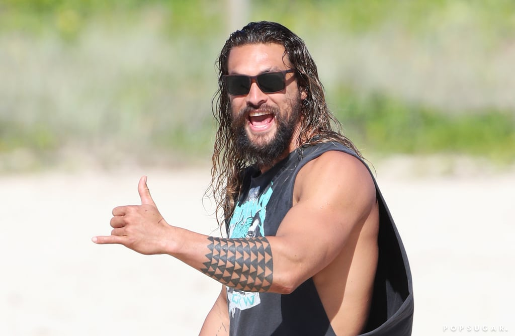 Jason Momoa on the Beach in Queensland July 2017
