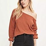 Missguided Orange Off-Shoulder Cropped Sweater