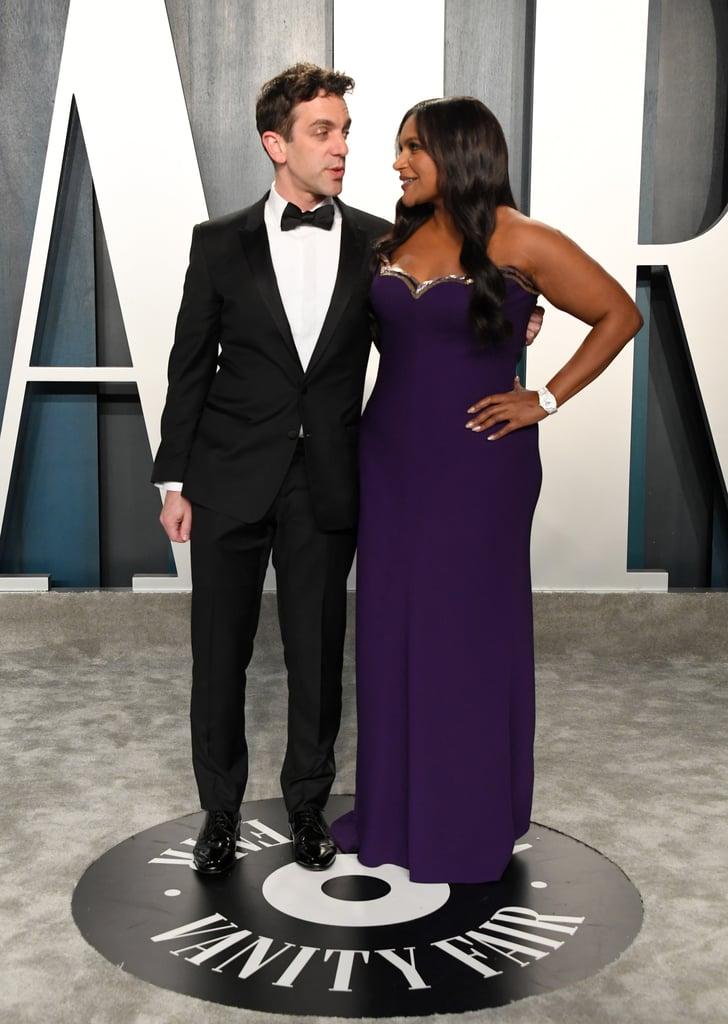 Mindy Kaling and B. J. Novak at the Vanity Fair Oscars Afterparty 2020