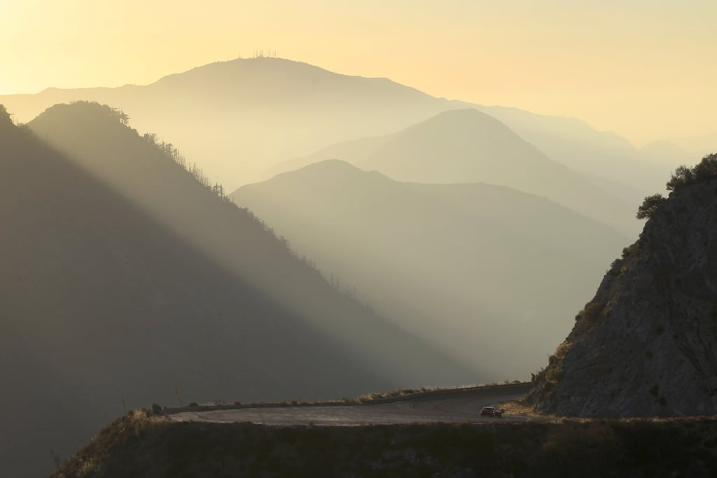 The highway was empty near the Angeles National Forest, with the park closed following the government shutdown.