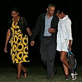 When Barack shared a private laugh with his oldest daughter.
