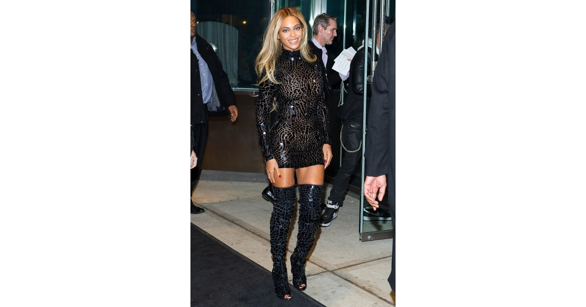 fb1bb750131a5 Wearing a sparkling Tom Ford mosaic mini and thigh-high boots for her    Beyonce's Sexiest Outfits   POPSUGAR Fashion Photo 19